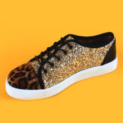 GIRLS GOLD GLITTER SNEAKERS